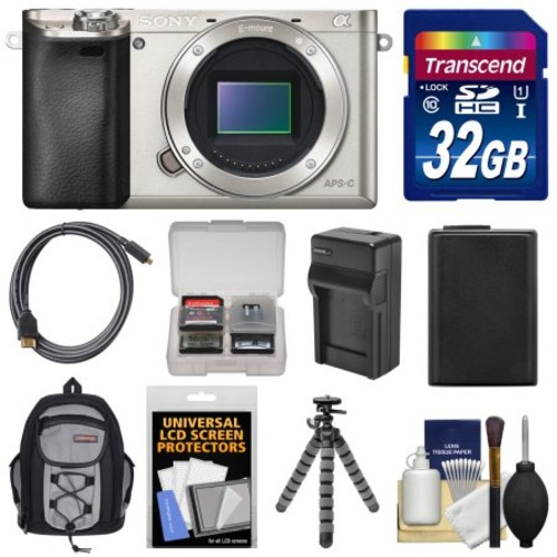Sony - Alpha A6000 Wi-Fi Digital Camera Body w/ 32GB Card+Case+Battery/Charger+Tripod+Acc Kit - Silver