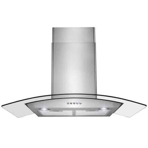 AKDY 36 in. Convertible Wall Mount Range Hood in Stainless Steel with Tempered Glass and Push Button Control