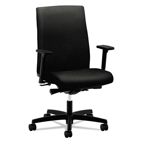 Hon Ignition Series Mid-Back Work Chair, Black Fabric Upholstery (HONIW104CU10)