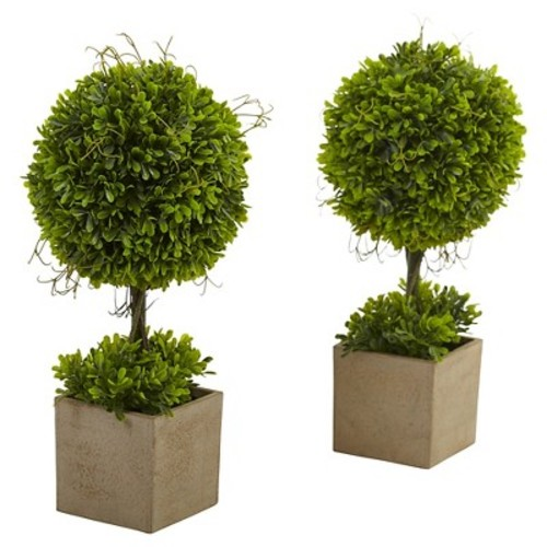 Nearly Natural Boxwood Ball Topiary - Set of 2