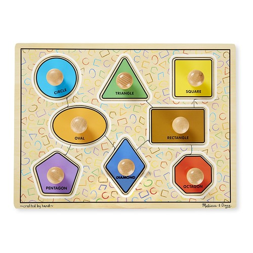 Melissa & Doug Deluxe Jumbo Knob Wooden Puzzle - Geometric Shapes (8 pcs)