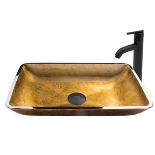 Vigo Copper Glass Rectangular Vessel Sink and Seville Faucet Set in Matte Black
