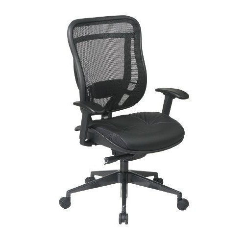 SPACE Seating Breathable Mesh High Back and Padded Black Leather Seat, Ultra 2-to-1 Synchro Tilt Control, Seat Slider and Gunmetal Finish Executive Chair [Gunmetal Finish, Leather Seat]