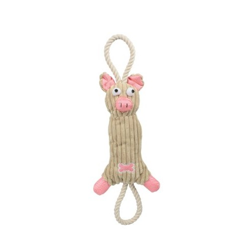 PetLife Central Jute And Rope Plush Pig - Pet Toy