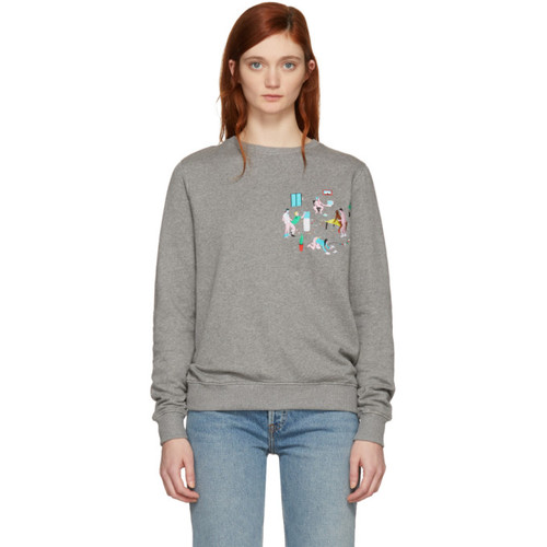 Grey 'Last Minute Office Meeting' Embroidered Sweatshirt