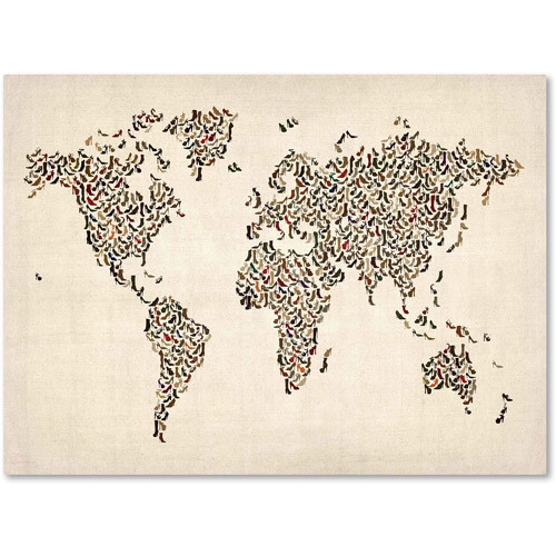 Ladies Shoes World Map by Michael Tompsett work, 14 by 19-Inch Canvas Wall Art [14 by 19-Inch]
