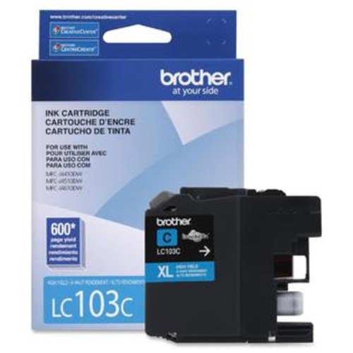 Brother Innobella LC103C Ink Cartridge - Inkjet - High Yield - 600 Page - 1 Each - TD