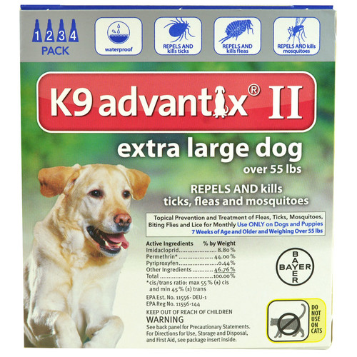 Advantix II for Dogs over 55 lbs 4 Month Supply