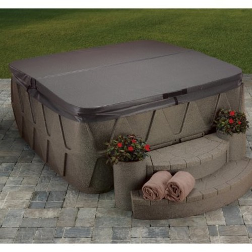 AquaRest Spas AR-500 5-Person Lounger Spa with 19 Jets in Stainless Steel and Easy Plug-N-Play and LED Waterfall in Brownstone