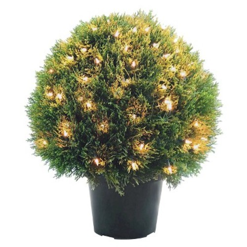 National Tree Company 24 in. Cedar Pine Topiary with Round Green Growers Pot with 100 Clear Lights