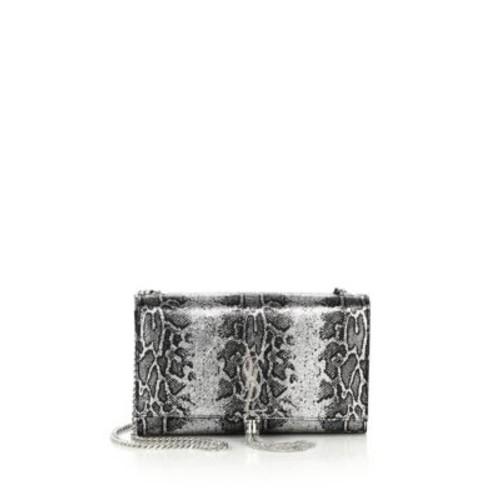 SAINT LAURENT Monogram Medium Metallic Python-Embossed Tassel Crossbody Bag