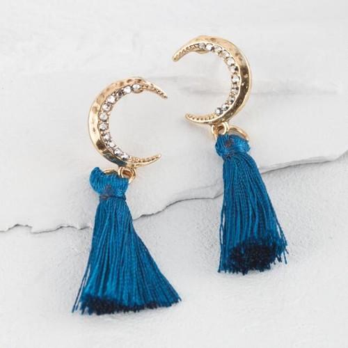 Gold Moon and Teal Tassel Earrings