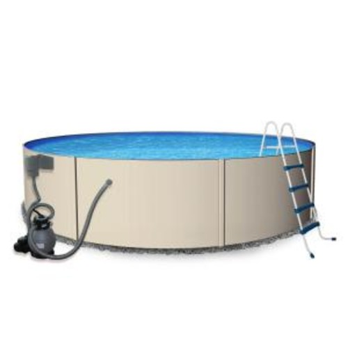 Blue Wave Rugged Steel 18 ft. Round 52 in. Deep Metal Wall Swimming Pool Package