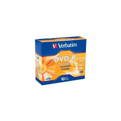 Verbatim DVD-R Discs, 4.7GB, 16x, with Slim Jewel Cases, 10/Pack 95099