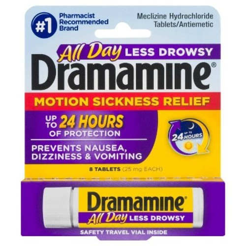 Dramamine Motion Sickness Relief Less Drowsey Formula, 8 Count [1]