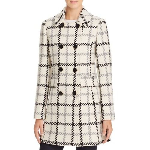 KATE SPADE NEW YORK Plaid Double-Breasted Button Front Coat