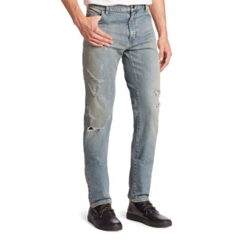 SAINT LAURENT Distressed Straight-Fit Jeans