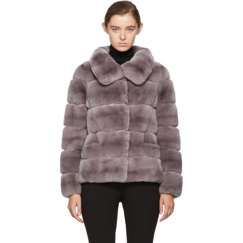 YVES SALOMON Purple Ribbed Fur Short Coat