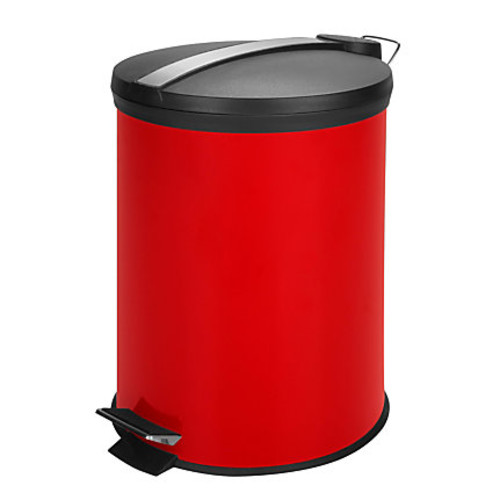Honey-Can-Do Steel Step Trash Can, 3.2 Gallons, Red/Stainless Steel