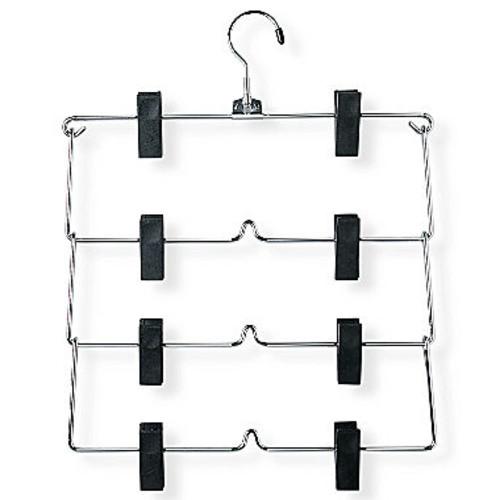 Honey-Can-Do HNGT01188 Fold Up Skirt Hanger, Chrome/Black, 4-Tier, 2 Pack