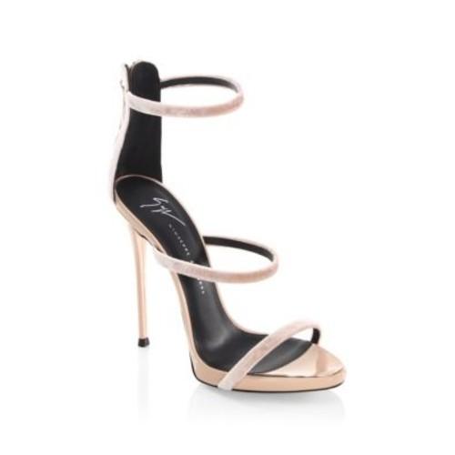 Coline 3-Band Velvet Sandals