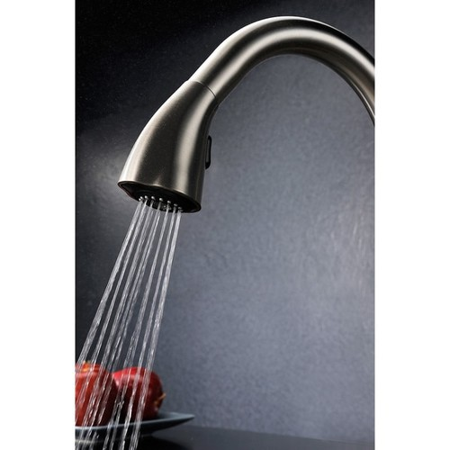 ANZZI Accent Series Single-Handle Pull-Down Sprayer Kitchen Faucet in Brushed Nickel