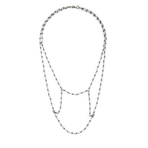 ADORNIA Fine Jewelry - Black Spinel and Silver Renaissance Bib Collar Necklace