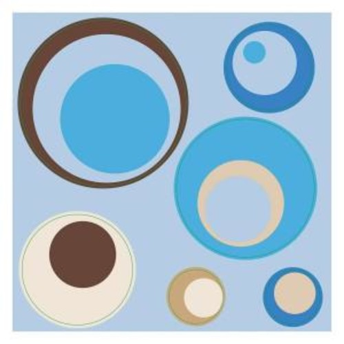 Brewster 12 in. x 12 in. Spheres Blue 4-Piece Wall Decal