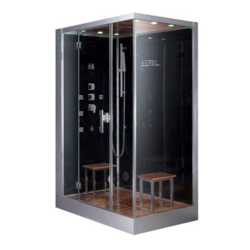 Ariel 59 in. x 35.4 in. x 89.2 in. Steam Shower Enclosure Kit in Black