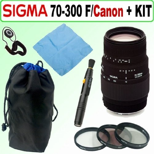 Sigma 70-300mm DG MACRO SLR Lens For Canon SLR Cameras with 58mm UV + Cleaning Package
