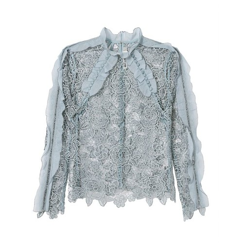 SELF-PORTRAIT Ruffle Floral Lace Top
