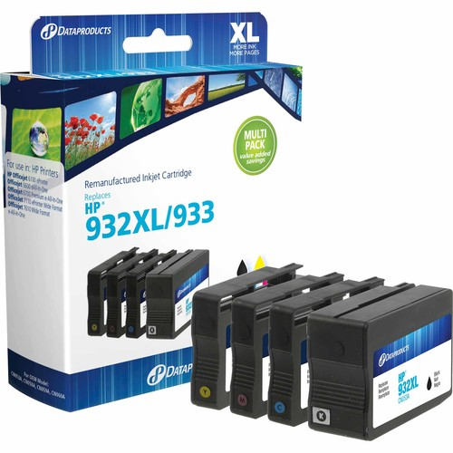 Dataproducts DPC932XB933CMY Remanufactured Inkjet Cartridge for HP 933 and HP 932XL - CMY Color and High Yield Black Ink 4-Pack