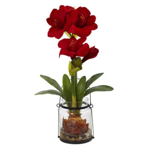 Amaryllis Candelabrum Silk Flower Arrangement