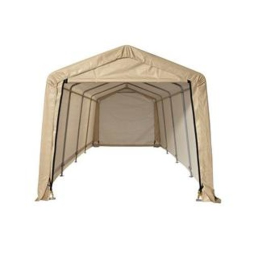 ShelterLogic Corp. 10X20 Auto Shelter with 5-Rib Peak Style Frame and Sandstone Cover