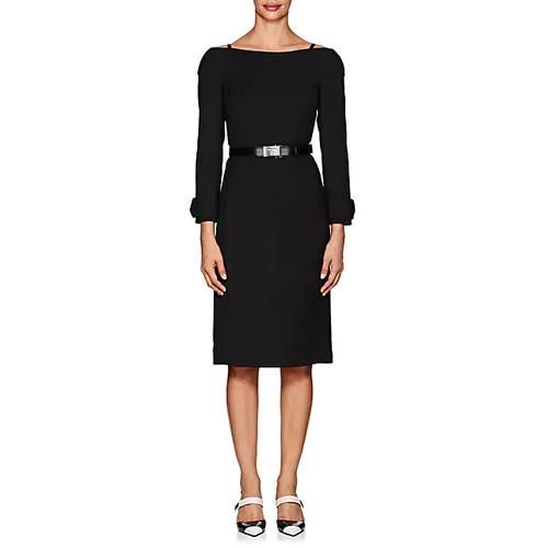 Prada Wool Crepe Off-The-Shoulder Dress