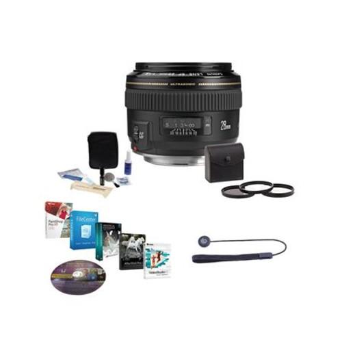 Canon EF 28mm f/1.8 USM Wide Angle Lens, USA, with Free Accessory Bundle 2510A003 NK