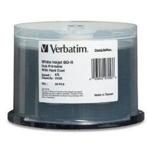 Verbatim BD-R 25GB 6X DataLifePlus White Inkjet Printable, Hub Printable - 50pk Spindle 97339 [50pk Spindle, 25GB - White Inkjet]