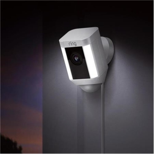 Ring Indoor/Outdoor 1080HD Wired Security Camera with LED Spotlight, White
