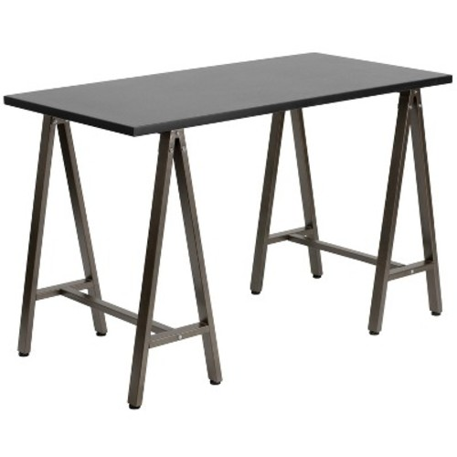 Black Computer Desk with Brown Frame - Flash Furniture