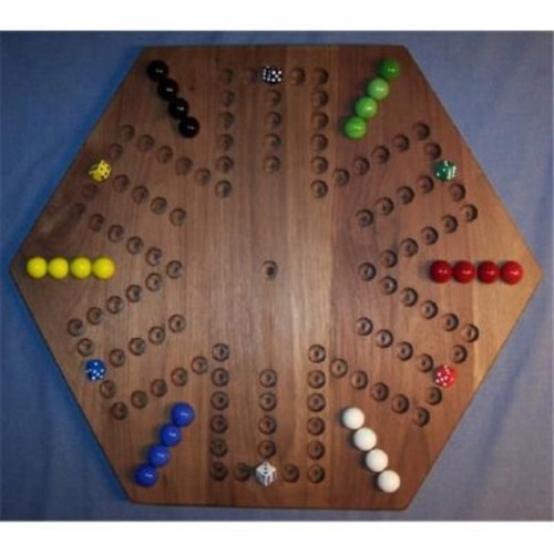 The Puzzle-Man Toys Wooden Marble Game Board - Aggravation - 20 In. Hexagon - 6-Player 6-Hole - Black Walnut (Crwp396)