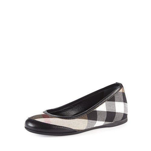Girls' Check Ballerina Flats, Black