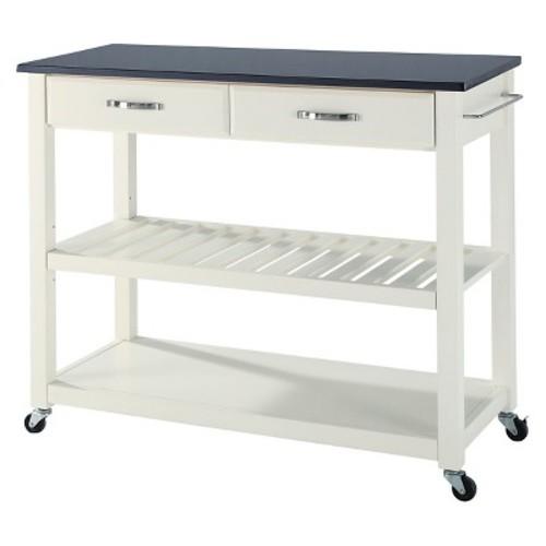 Solid Black Granite Top Kitchen Cart/Island With Optional Stool Storage - Crosley