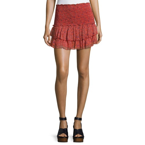 ETOILE ISABEL MARANT Julia Smocked Mini Skirt, Red