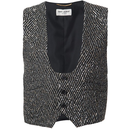 SAINT LAURENT Embellished Metallic Waistcoat