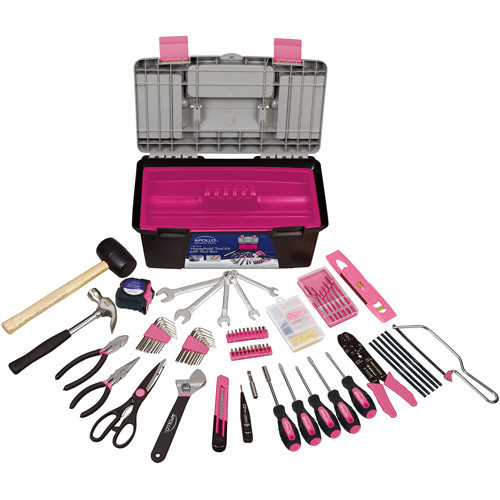 Apollo Tools DT7102P 170 Piece Complete Household Tool Kit with Large Heavy Duty Tool Box Pink Ribbon [Pink]