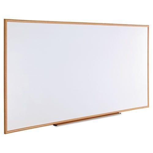Dry-Erase Board, Melamine, 96 x 48, White, Oak-Finished Frame