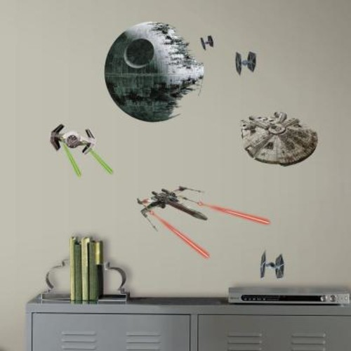 RoomMates 5 in. W x 11.5 in. H Star Wars EP VII Spaceships 20-Piece Peel and Stick Wall Decal