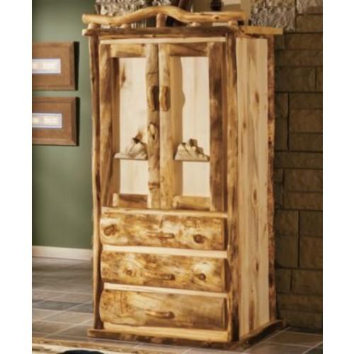 Mountain Woods Furniture Aspen Log 3-Drawer Teton Armoire