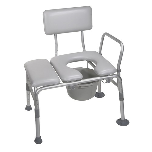 Drive Medical Combination Padded Seat Transfer Bench with Commode Opening, Gray: Health & Personal Care