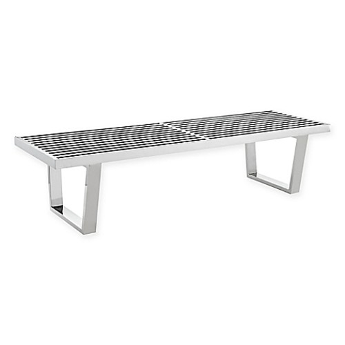 Modway 5-Foot Stainless Steel Sauna Bench in Silver
